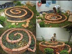 A simple attractive garden idea for small spaces. You don't even have to concrete in the bricks.