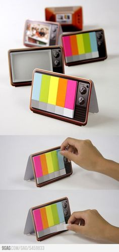 cute tv neon post-it note tab dispenser