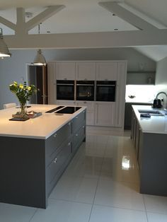 "Kitchen design with Farrow & Ball ""Moles Breath"" on the island and bottom units and ""Skimming Stone"" on the back unit. Open Plan Kitchen Living Room, Barn Kitchen, Kitchen Family Rooms, Kitchen Units, New Kitchen, Kitchen Decor, Shaker Kitchen, Kitchen Island, Kitchen Ideas"