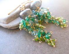Green Gemstone Dangle Earrings , Cluster cascade Earrings, Gold earrings, wire wrapped