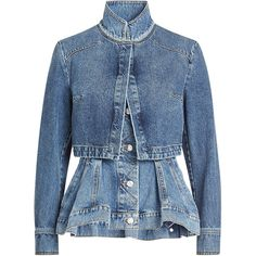 Alexander McQueen Layered Denim Jacket ($1,750) ❤ liked on Polyvore featuring outerwear, jackets, blue, blue jean jacket, stand up collar jacket, alexander mcqueen, blue denim jacket and layered jacket