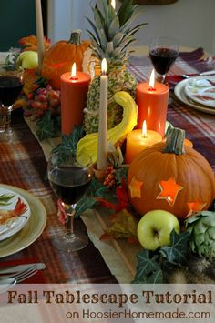 Lovely Fall Tablescape...tutorial on how to create this fall centerpiece with pumpkins, gourds, vegetables & fruit.  HoosierHomemade.com.