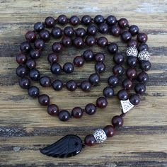 Quality 8MM Black Natural stone Beads with black stone wing Pendant Mens Rosary Necklace Wooden Beads Mens Mala jewelry