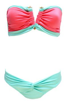 Coral and turquoise bathing suit!