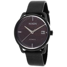 Nixon Mellor Automatic Black Genuine Leather Brown Wood Dial ($250) ❤ liked on Polyvore featuring jewelry, watches, black, black leather watches, wooden watches, dial watches, wood watches and black leather wrist watch