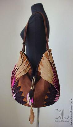 """Кожаная сумка """"Птица бохо"""". Handmade."""