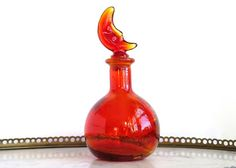 *Vintage glass with moon shaped stopper perfume bottle