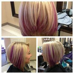 Blonde with pink peek a boos