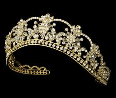 White and Gold Wedding Crown, Bride Tiara. Dazzling Gold Plated Mis Quince Anos Quinceanera or Wedding Tiara with Crystals and Rhinestones Gold Wedding Crowns, Wedding Bride, Gold Weddings, Wedding Veils, Wedding Hair, Floral Wedding, Quinceanera Tiaras, Silver Tiara, Royal Jewelry