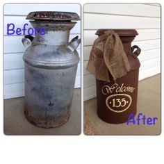 @Kallie Fickes  Refurbish your cream can. My Milk Can turned into porch decor