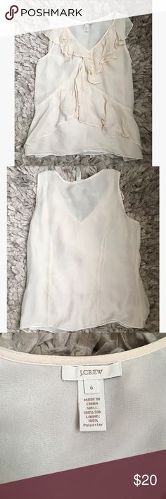 J Crew Cream Silk Blouse Size 6 This 100% silk blouse is the perfect addition to your wardrobe! Throw under a blazer or cardigan and you are good to go! Gently worn, good condition (the lighting is bad- there are no stains!* Offers welcome, discounts on bundles!* J. Crew Tops Blouses