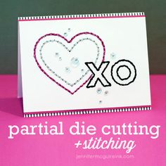 Stitching on cards... and partial die cutting. Video by Jennifer McGuire Ink