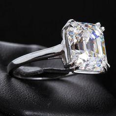 6.16 Carat E VVS2 Square Emerald Diamond Solitaire Engagement Ring GIA