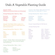 Utah: A Vegetable Planting Guide. Maybe it will work for Colorado?