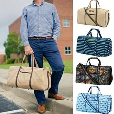 Durable mens & boys duffle bags include monogrammed custom embroidery. Kids duffle bags are great for overnight sleepovers, sports practice or gym bags. Patterns: Khaki Tan, Camo, Shark, Striped Navy
