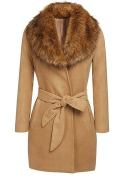 Parka Coat with Fur Collar and Tie Waist -YOINS