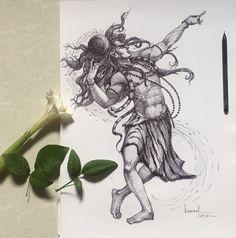 Shiva Art, Hindu Art, Art Drawings Sketches Simple, Cute Drawings, Sketch Art, Pencil Drawings, Lord Shiva Sketch, Trishul Tattoo Designs, Shiva Tattoo Design