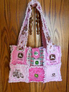 Pink  JOHN DEERE Fabric Rag Quilt Purse Diaper Bag by 1723diane, $28.00