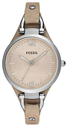 Fossil Ladies Georgia Stainless Steel Watch with Tan Leather Strap