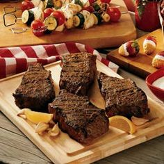 Garlic Grilled Steaks: For a mouthwatering change of taste at your next barbecue, take steak to new flavor heights by basting your choice of cuts with a great garlicky blend that requires no more than minutes to fix  #beef #recipe