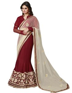 Maroon Chiffon Embroidered Saree #bandbaajaa.com #bandbaajaa #weddingsarees #weddingsaris #bridalsarees #bridalsaris #designersarees #designersaris #sarees #saris #weddingwear #weddingshopping