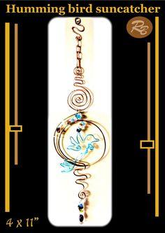 Hummingbird gifts, suncatcher, garden decoration,nursery,copper,gemstones,mot Gifts For Mom, Great Gifts, Tree Agate, Grandmother Gifts, Deck Decorating, Hippie Home Decor, Suncatchers, Lovers Art, Rose Quartz