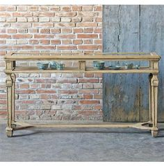 Peitro French Country Watchmakers Stand Glass Display Console Table. #kathykuohome
