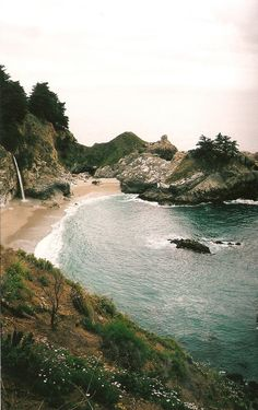 beautiful beach + waterfall