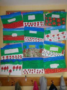 Ww1 poppy fields art 6th class 6 Class, Poppy Fields, Classroom Displays, Infants, Kids Rugs, Teaching, History, Art, Kids