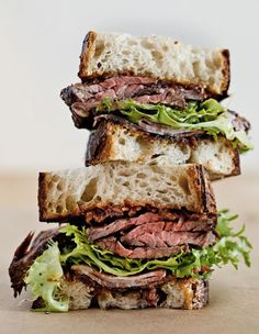 Grilled Hanger Steak & Applewood Smoked Shoulder Bacon Sandwich With Frisee & Red Onion Jam
