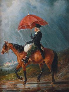 "Carl Spitzweg (1808 - 1885), German Painter : ""In the Downpour"""