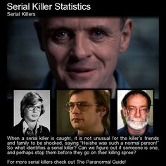 Serial Killer Statistics. Here are some things that might suprise you... or not. http://www.theparanormalguide.com/blog/serial-killer-statistics