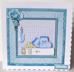 Boy christening and white bible 8x8 card on Craftsuprint designed by Angela Wake - made by Margaret McCartney -