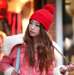 Wool-blend Pompom Winter Beanie Hat - Hats - Accessories Free shipping