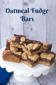 the best bake sale recipes like these oatmeal fudge bars are a portable dessert yet full of flavor. Easy to make dessert that holds its shape. Easy dessert bars.