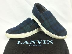 100% Auth. LANVIN Plaid Wool Slip-on Sneakers Multi-color Sz 6 Fits 6.5/7 NEW #Lanvin #SliponSneakers
