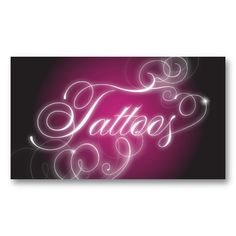 Tattoo Business Card Elegant Flourish Glow.  This bold pink and black tattoos business card is elegant and stylish.  It's glowing, flowing swirl script is unique and modern.  For more designs like this, visit www.pamsdesigns.ca or message pamsdesigns@live.ca.
