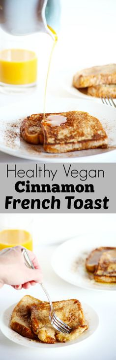 This Healthy VEGAN Cinnamon French Toast is the perfect healthy weekend breakfast! It's soft, flavorful and really easy! / TwoRaspberries.com