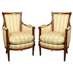 Pair of Louis XVI Bergeres | From a unique collection of antique and modern bergere chairs at http://www.1stdibs.com/furniture/seating/bergere-chairs/