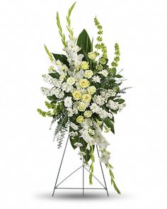 Order Magnificent Life Spray flower arrangements from All Flowered Up Too, your local Lubbock, TX florist. Send Magnificent Life Spray floral arrangement throughout Lubbock and surrounding areas. Arrangements Funéraires, Funeral Floral Arrangements, Condolence Flowers, Sympathy Flowers, Flowers For You, White Flowers, Fresh Flowers, Spring Flowers, Casket Flowers
