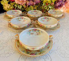 6 Haviland Limoges Porcelain Cream Soup Cups & Saucers Floral Roses Weave Gold #TheodoreHavilandLimoges