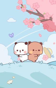 Cute Panda Wallpaper, Cute Couple Wallpaper, Bear Wallpaper, Kawaii Wallpaper, Cute Wallpaper Backgrounds, Cute Bunny Cartoon, Cute Kawaii Animals, Cute Cartoon Pictures, Cute Love Cartoons