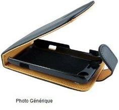 Housse / Etui à Rabat TRES CHIC Noir interieur Beige pour Samsung S7070 Diva