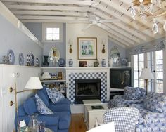 This is just the cutest room ever! I wonder if it started with the tile on the fireplace?