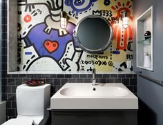 Glamorous industrial wall sconce in Bathroom Contemporary with Hexagon Tile next to Recessed Wall Niche alongside White Tile Floor and Teen Bathroom
