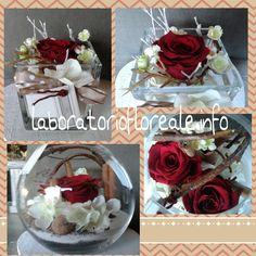 composizioni con rose stabilizzate rosse
