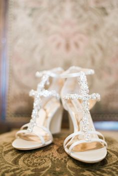 Glam jeweled heels: http://www.stylemepretty.com/north-carolina-weddings/2016/06/16/this-wedding-proves-rose-gold-is-here-to-stay/ | Photography: Kate Supa - http://www.katesupa.com/