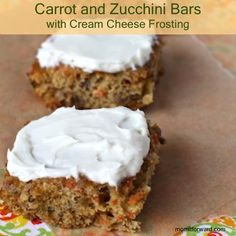 Carrot and Zucchini Bars With Cream Cheese Frosting | Recipe Devil