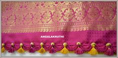 Angalakruthi-Custom designer boutique in Bangalore We. Saree Kuchu New Designs, Saree Tassels Designs, Saree Dress, Saree Blouse, Saree Border, Amai, Hand Embroidery Designs, Blouse Patterns, Bead Crochet