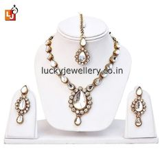 Planning to attend #wedding party but confused in #necklace set selection. Try this beautiful 1-Line White Kundan with Mang Tika. Order it now online from #LuckyJewellery  at Rs. 314/- This #monsoon season look stunning with this stylish Necklace set. #jewelry #fashion #style #ethnic http://ift.tt/2bB0Y2q